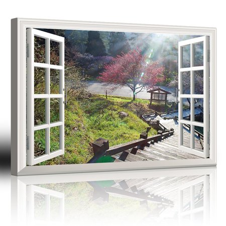 wall26 Modern White Window Looking Down Into a Stairway That Leads to a Japanese Garden with a Kiosk - Canvas Art Home Decor - 24x36