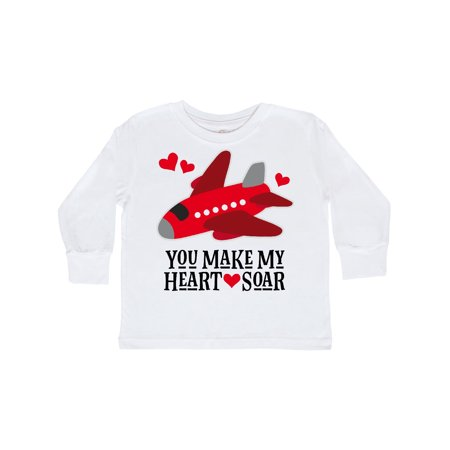 Valentines Day Airplane Hearts Toddler Long Sleeve - Valentine T Shirts For Toddlers