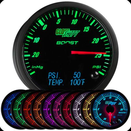 GlowShift 60mm 3in1 Black Face Boost/Vacuum w Digital Pressure & Temp Gauges