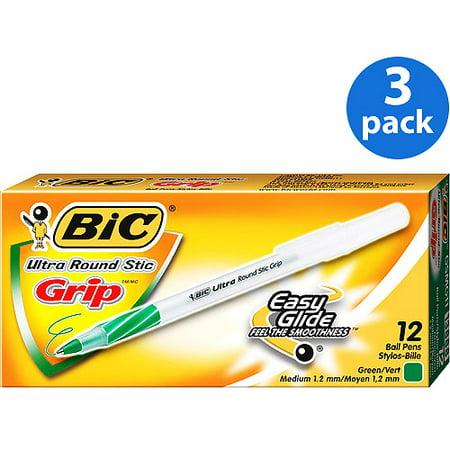 (3 Pack) BIC Round Stic Grip Ball Pen, 1.2 mm, Medium, Green, 12 Count (Grid Ball)