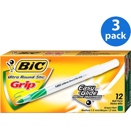 (3 Pack) BIC Round Stic Grip Ball Pen, 1.2 mm, Medium, Green, 12 Count
