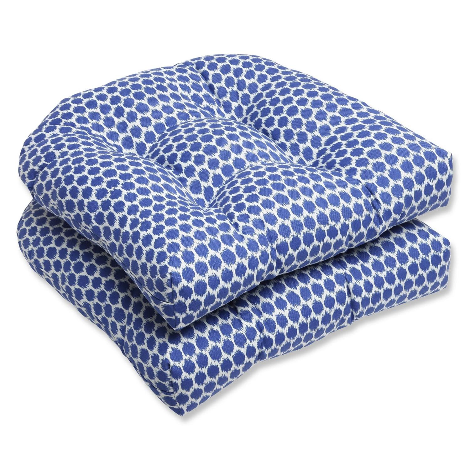 Set of 2 Ruche D'abeille Royal Blue and White Outdoor Patio Wicker Chair Cushions 19""