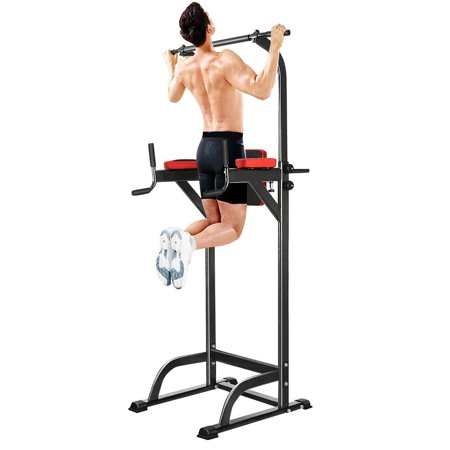 Chin Up Bar Power Rack Adjustable Abs Workout Knee Crunch Triceps Station Power