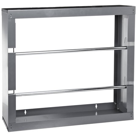 """Durham 384-95 Gray Cold-Rolled Steel Wire Spool Rack with 2 Rods, 26-1/8"""" Width x 17-7/8"""" Height x 6"""" Depth"""