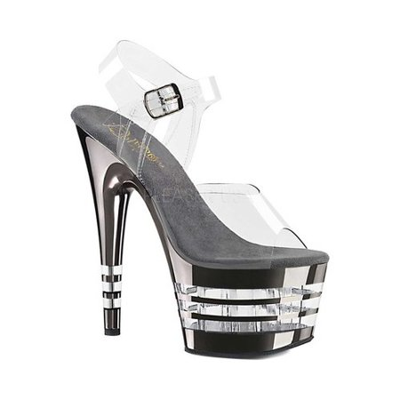 ADORE-708CHLN, 7'' Heel 2 3/4'' Lined Platform Ankle Strap Sandal - 7 Inch High Heel Sandals