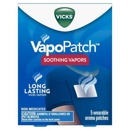 (2 pack) Vicks VapoPatch with Long Lasting Soothing Vicks Vapors for Adults & Children Ages 6+, 5 Count Soothing Vicks Vapors