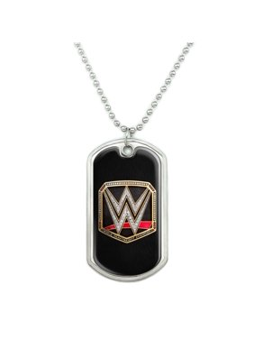 WWE World Heavyweight Champion Title Logo Military Dog Tag Pendant Necklace with Chain