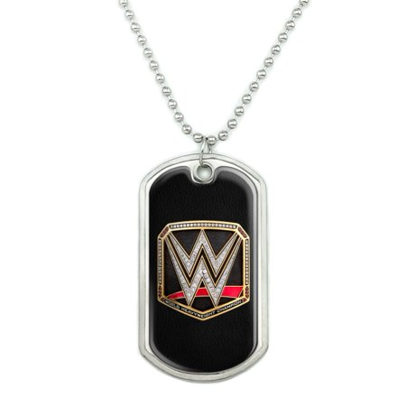 WWE World Heavyweight Champion Title Logo Military Dog Tag Pendant Necklace with Chain Military Dog Tag Necklace