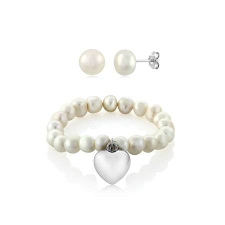 Freshwater Pearl Heart Toggle Bracelet - 7