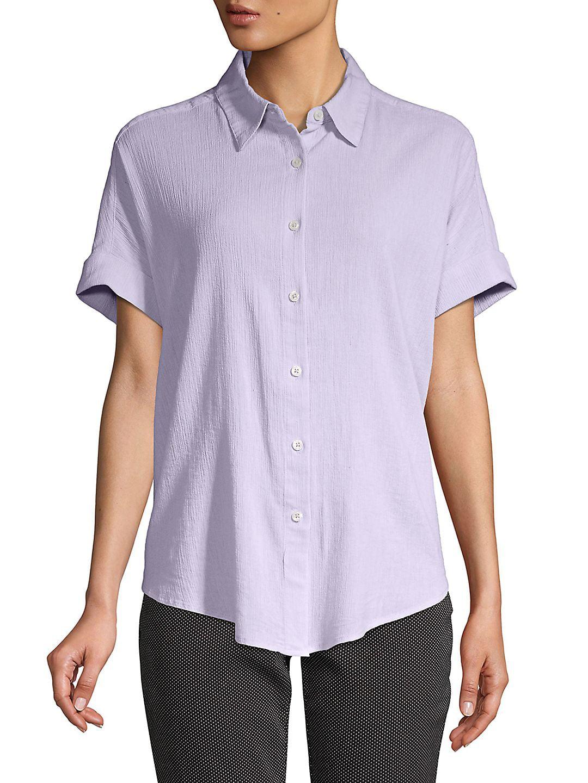 Petite Short-Sleeve Cotton Button-Down Tie-Front Shirt