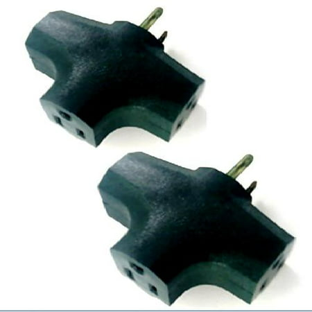 RAM-PRO #2260 Green 3 Way Outlet Wall Plug Adapter (T Shaped Wall Tap) 3 Prong (Ul Listed) -2 Pack