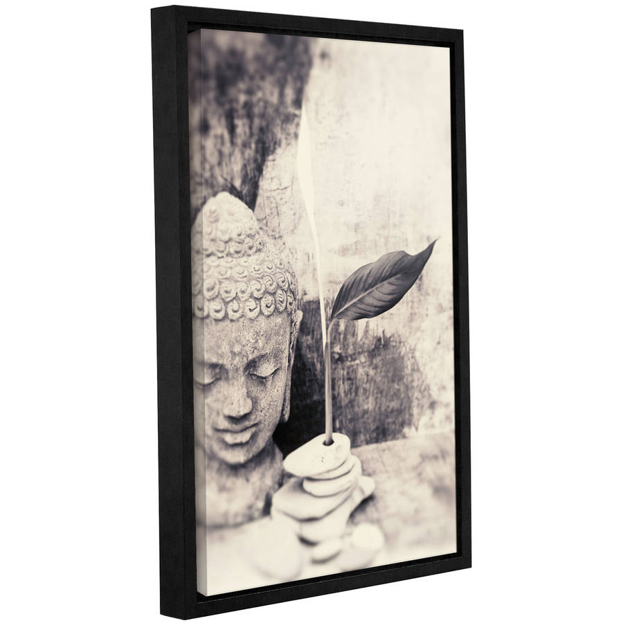 """ArtWall Elena Ray """"Black and White Buddha"""" Gallery-Wrapped Floater-Framed Canvas"""