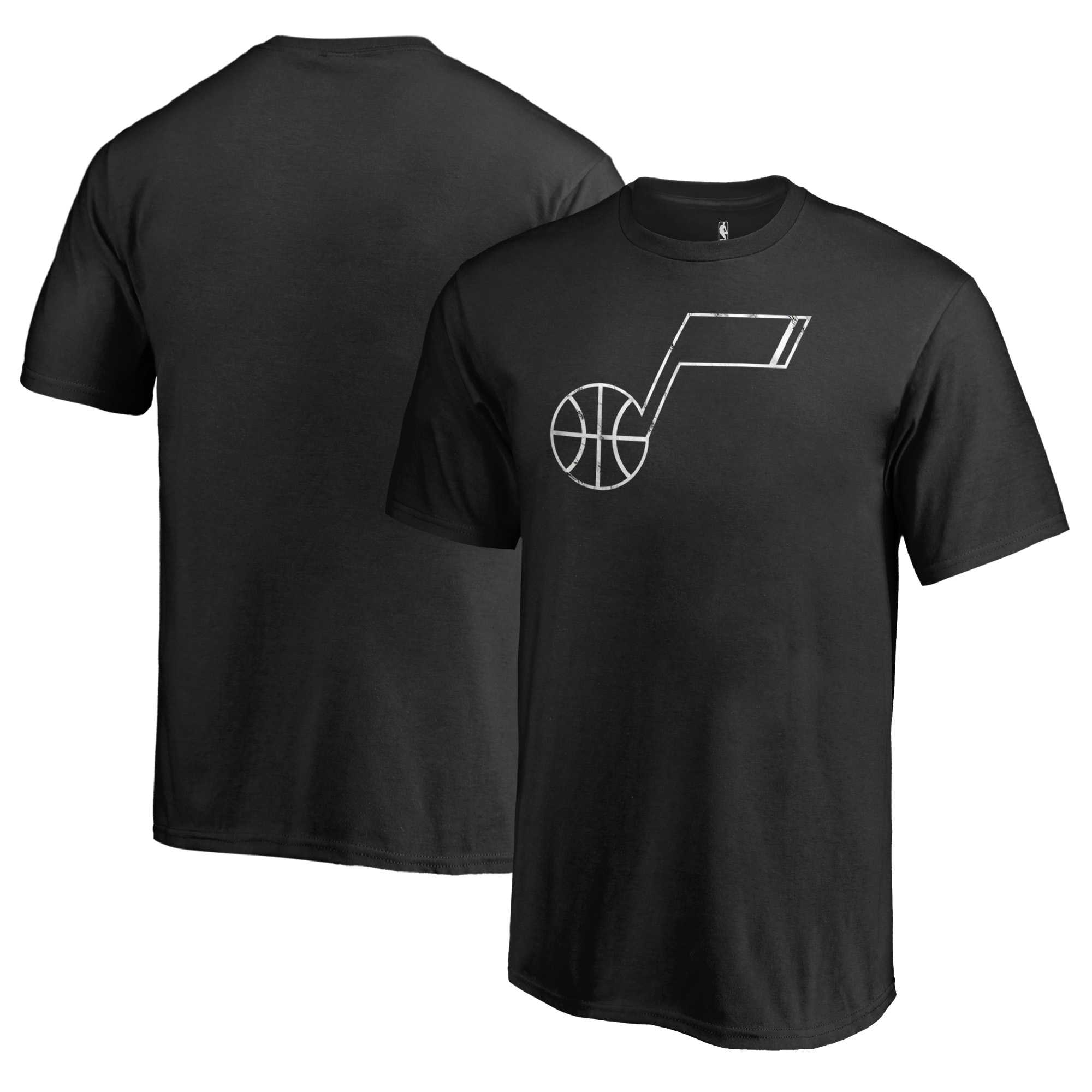 Utah Jazz Fanatics Branded Youth Marble Logo T-Shirt - Black