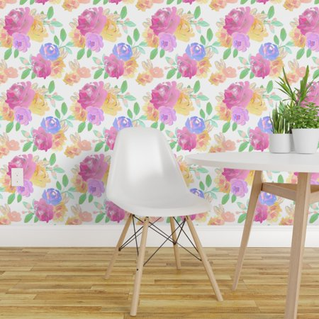 Removable Water Activated Wallpaper Pastel Posy Baby Girl Nursery Flow