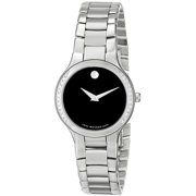Movado Women's 0606385 Serio Stainless Steel and Diamond Black Round Dial Watch