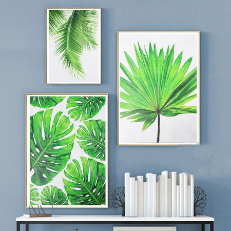 Mrosaa Green Unframed Plant Canvas Wall Art Watercolor Leaves/leaf Canvas  Modern Home Decor