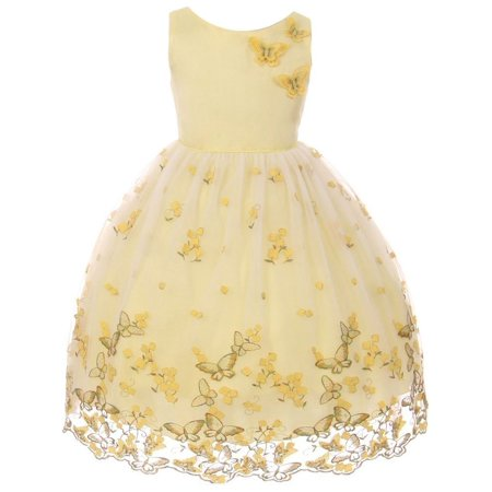Kids Dream Little Girls Yellow Metallic Butterfly Flower Easter Dress - Girls Butterfly Dress