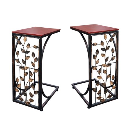 Etna Sofa Side End Tables - Small Metal Leaf Design with Dark Brown Wood Look MDF Top - C-Shaped TV Tray Slides Up To Couch, Chair, Recliner to Keep Snacks, Drinks, Accessories at Easy Reach -Set of 2