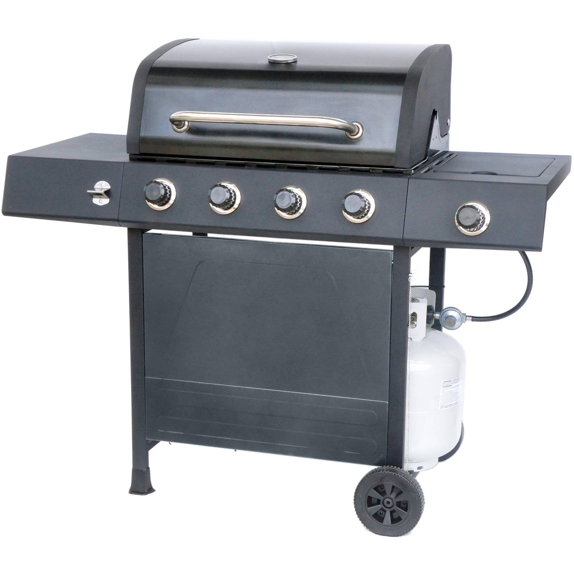 RevoAce 4-Burner Gas Grill with Side Burner, Pewter Fleck