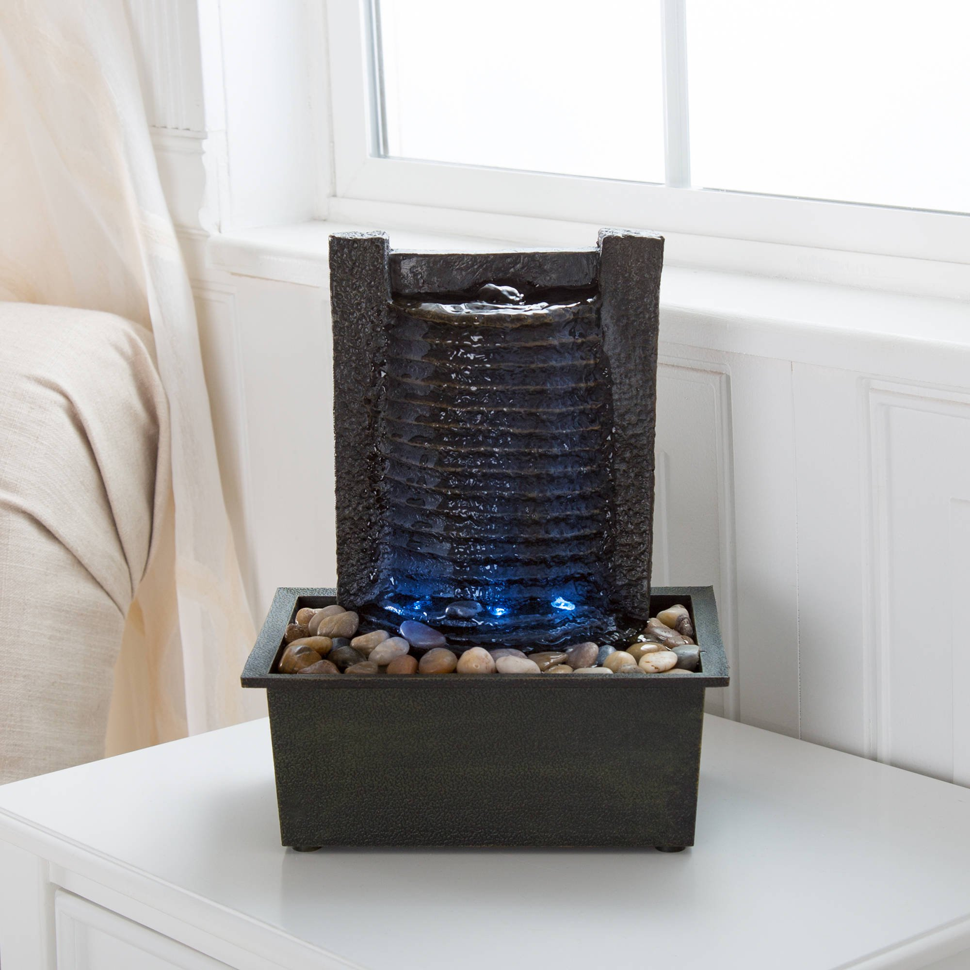 indoor water fountain with led lights lighted waterfall tabletop fountain with stone wall and soothing