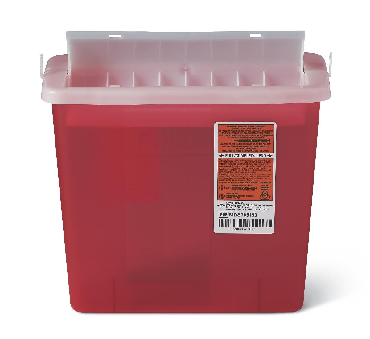 Medline MDS705153H Sharps Container For Patient Room, Plastic, 5qt, Rectangular, Red