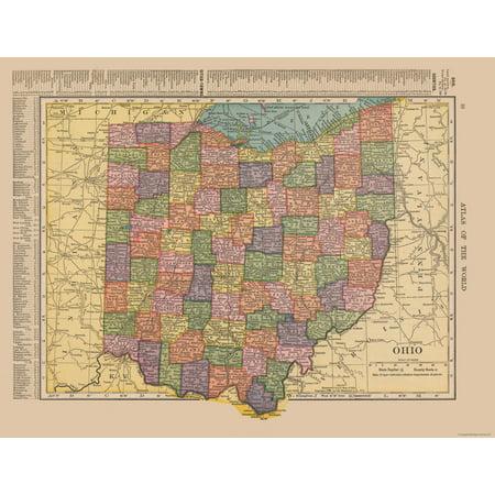 Old State Map - Ohio, United States - Hammond's Atlas 1910 - 29.86 x (Ogio Atlas)