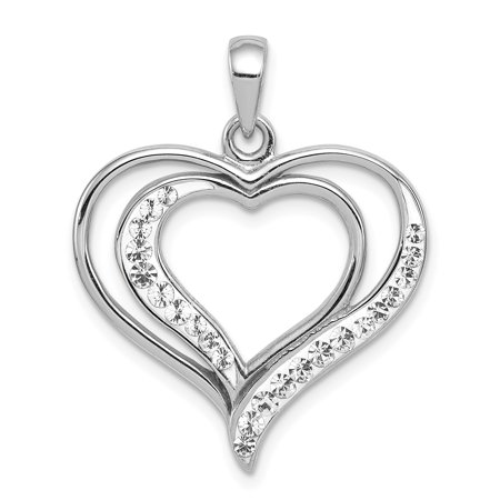 925 Sterling Silver Rhodium Plated Stellux Crystal Heart Shaped Pendant - image 2 of 2