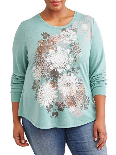 Terra and Sky Women's Plus Graphic Sweatshirt Designs (Mint, 4X)