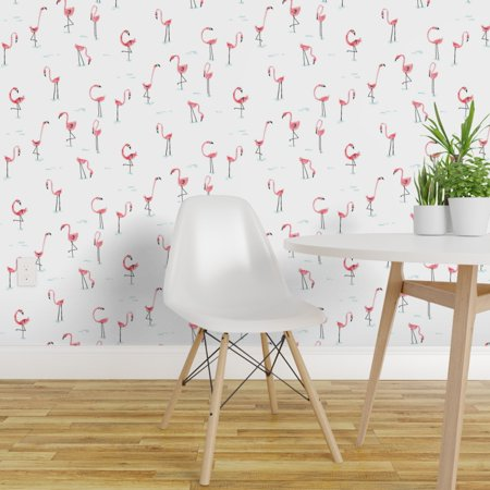 Peel and Stick Removable Wallpaper Flamingo Birds Zoo Kids Tropical Or