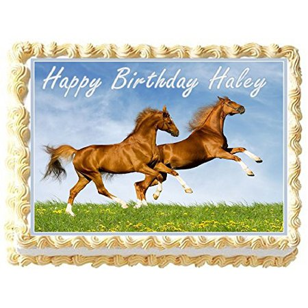Horses Personalized Edible Cake Topper Image - 1/4 Sheet](Horse Cake Ideas)