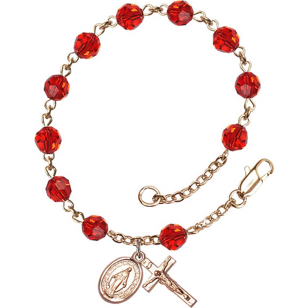 14 Karat Yellow Gold Rosary Bracelet 6mm July Red Swarovski beads Crucifix sz 5 8 x 1 4. by