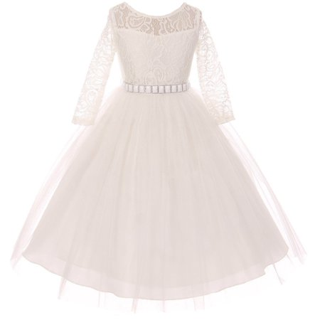 Little Girls Dress Lace Top Rhinestones Tulle Holiday Christmas Party Flower Girl Dress Off White Size 2 - Lace Flower Girls Dresses