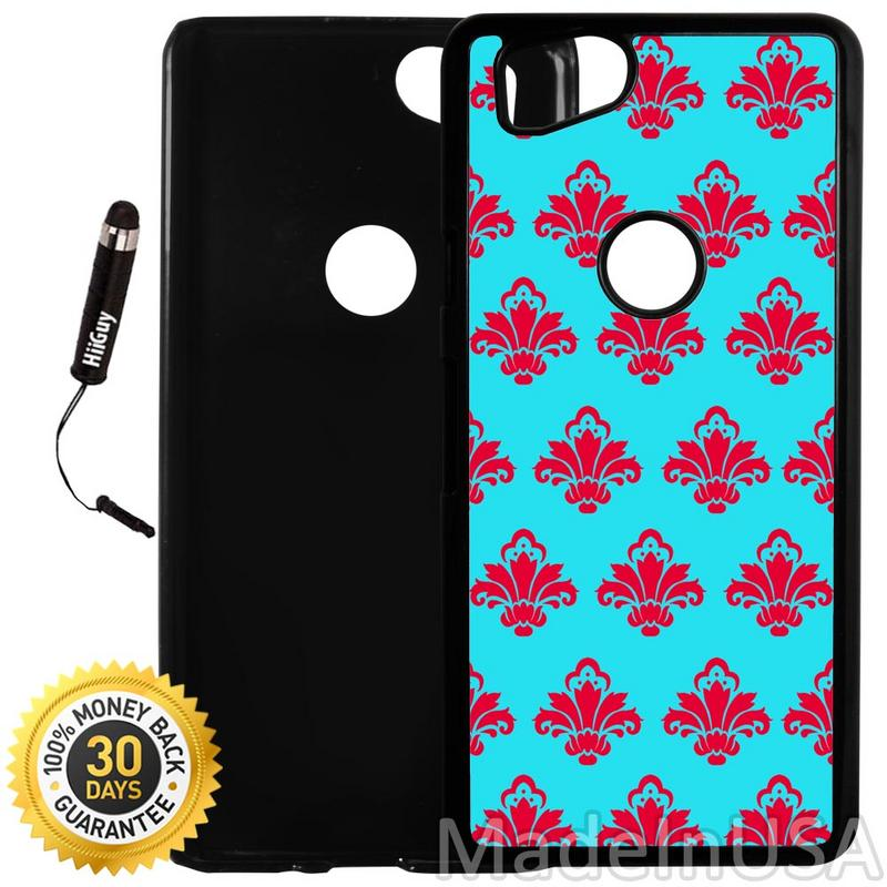 Custom Google Pixel 2 Case (Blue and Red Damask Pattern) Plastic Black Cover Ultra Slim | Lightweight | Includes Stylus Pen by Innosub