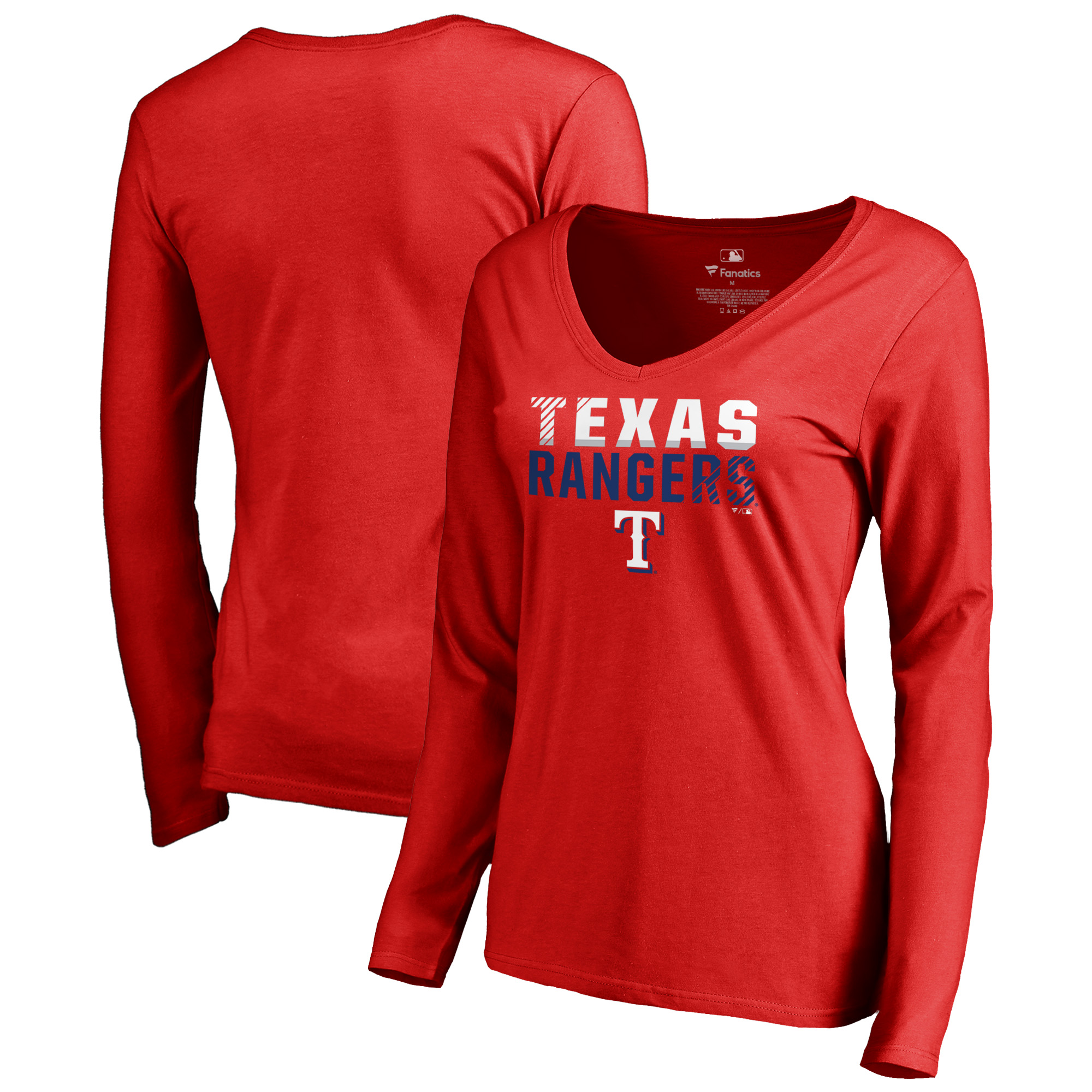 Texas Rangers Fanatics Branded Women's Fade Out V-Neck Long Sleeve T-Shirt - Red