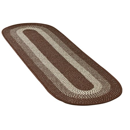 Collections Etc. Traditional Long Braided Runner Rug for the Hallway, Kitchen, Entryway, 20 X 72, Chocolate