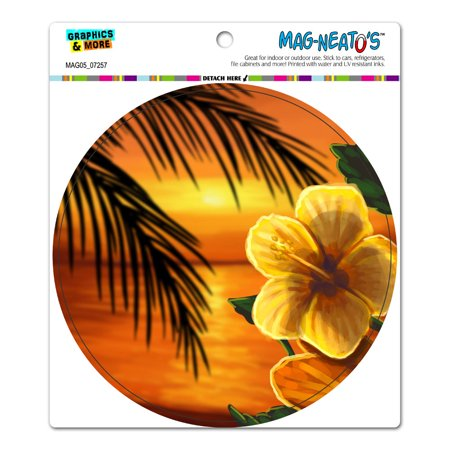 Beach Sunset Hibiscus Flower - Hawaiian Ocean Vacation Orange Circle MAG-NEATO
