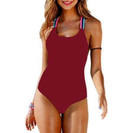Womens Swimming Costume Padded Monokini Swimsuit Swimwear Push Up