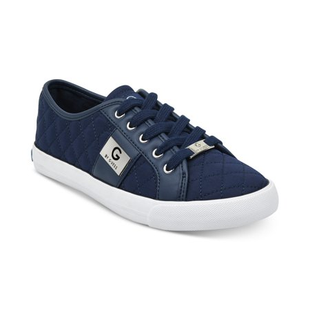 G by Guess Women's Backer3 Lace Up Leather Quilted Pattern Sneakers Shoes Blue (6.5)