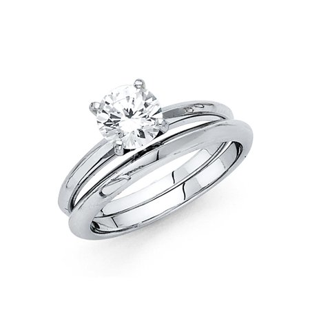 14K Solid White Gold 1.00 cttw Good Cut Cubic Zirconia Engagement Ring and Matching Wedding Band, 2 Piece Set, Size 9