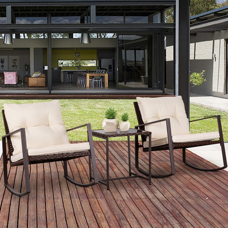 Suncrown Patio Rocking Chair Set 3 Piece Brown Wicker