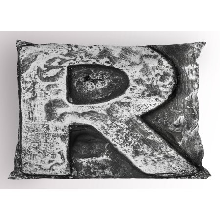 Letter R Pillow Sham Iron Toned Uppercase R Referring to Somebody Old School Initials Aristocratic Print, Decorative Standard Size Printed Pillowcase, 26 X 20 Inches, Grey, by Ambesonne