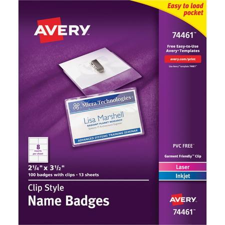 Avery Badge Holder Kit Wlaserinkjet Insert Top Load 2 14 X 3 1