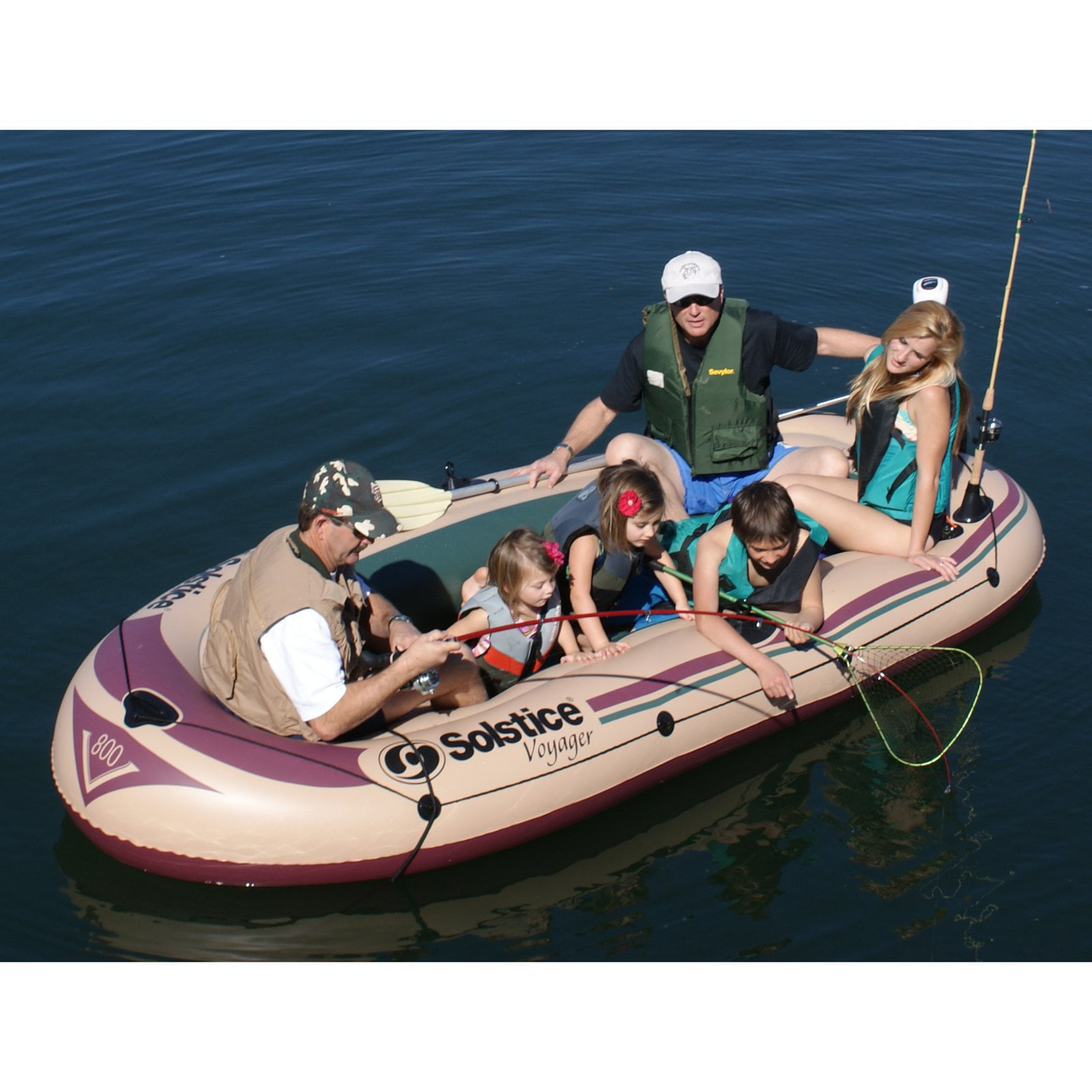 Solstice Voyager Inflatable 6 Person Boat Set by Solstice