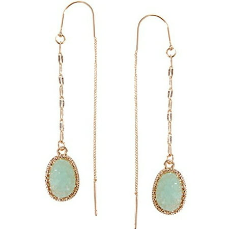 Simulated Druzy Chain Bar Threaders - Long Sparkly Needle Drop Earrings, Aqua, Simulated Aquamarine, Mint, Simulated Jade, - Aqua Glass Beaded Earrings