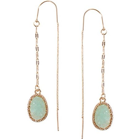 Simulated Druzy Chain Bar Threaders - Long Sparkly Needle Drop Earrings, Aqua, Simulated Aquamarine, Mint, Simulated Jade, Gold-Tone