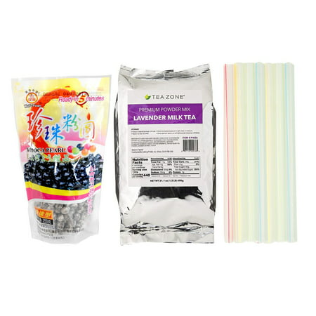 Tea Zone Lavender Milk Tea Bubble Tea Kit with WuFuYuan Black Boba Tapioca Pearl and Boba Individually Wrapped