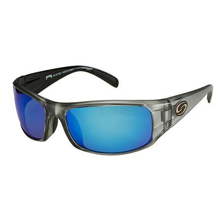 Lures S11 Optics Sunglasses Okeechobee Style, Two Tone Frame, Multi Layer White Blue Mirror/Gray Base (King Seven Sunglasses)