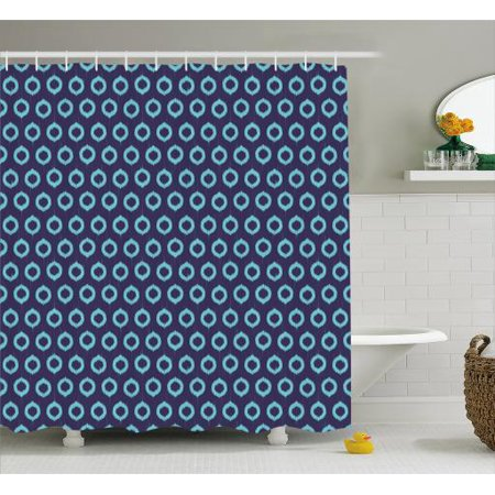 Ikat Shower Curtain Ethnic Pattern With Grunge Circles South East Asian Oriental Motifs Fabric
