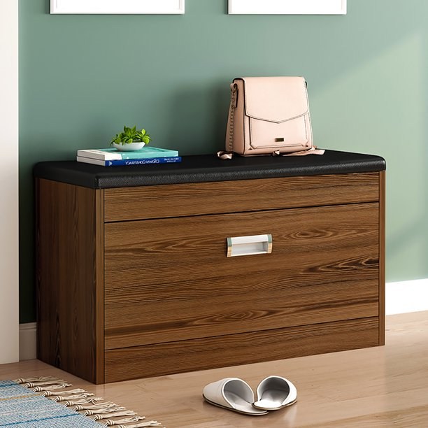 32 Inch Shoe Storage Bench with Drawer & Seat Cushion, Shoe