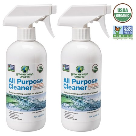 Greenerways Organic All-Purpose Cleaner, Natural USDA Organic Non-GMO, Best Household Multi Surface Spray Cleaner for Home, Natural House Cleaner, Safe House Cleaner - 2 PACK (2) 16oz, MSRP
